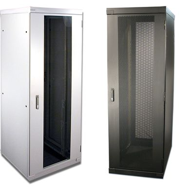Empty server cabinets with large transparent doors