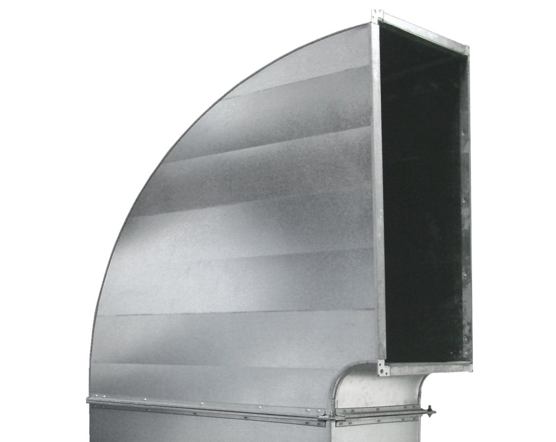 Rounded inside and outside elbow cheeks of an air duct