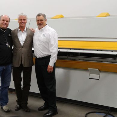 H&H Architectural Metals Owner Jim Huff, Willy Stahl (CEO RAS), and Ron Pegg (CEO RAS Systems)