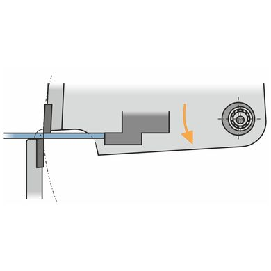 The upper blade penetrates the metal sheet above the lower blade