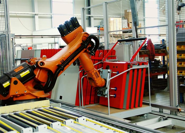 The intelligent unloading robot stacks bent parts automatically