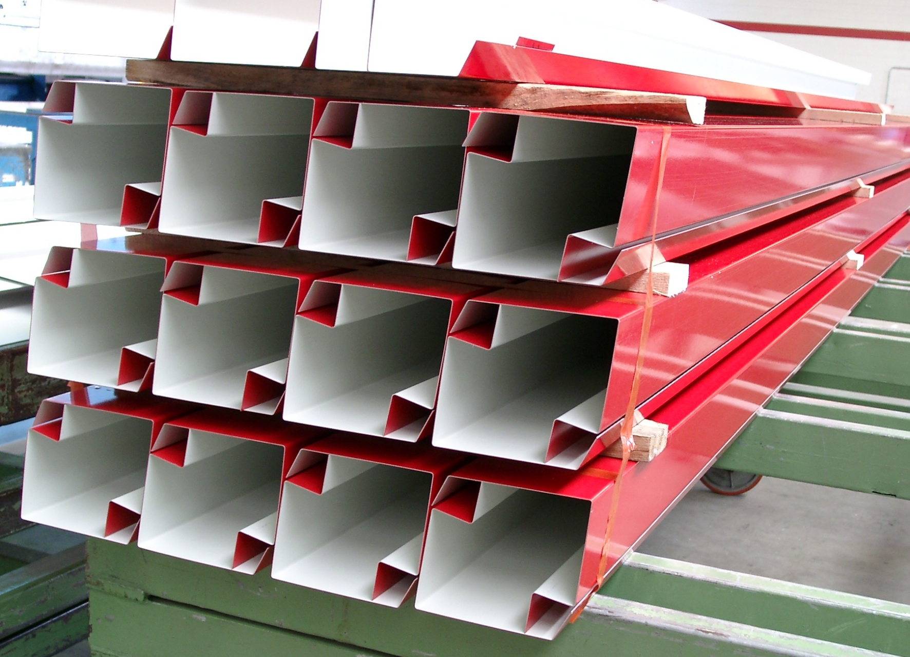 Bent profiles ready for transport