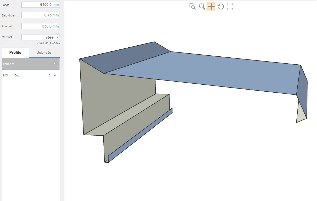 Part graphic shown in the Bendex software