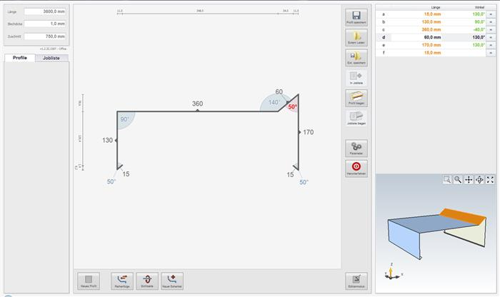 The Bendex software visualizes the folded part in 2D and 3D