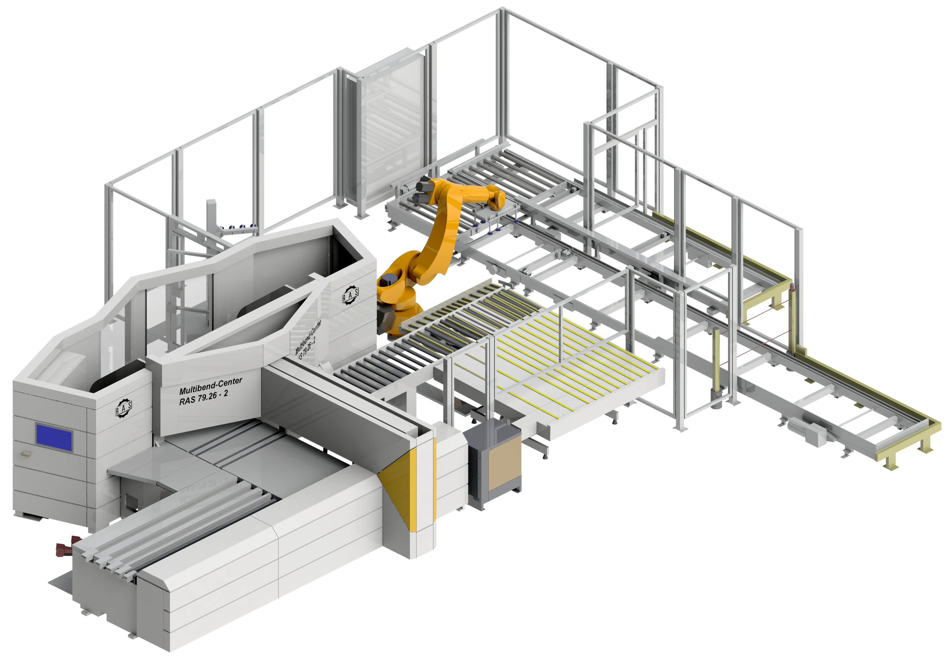 Automatic unloading and stacking of bent parts with an unloading robot. U shape pallet system.