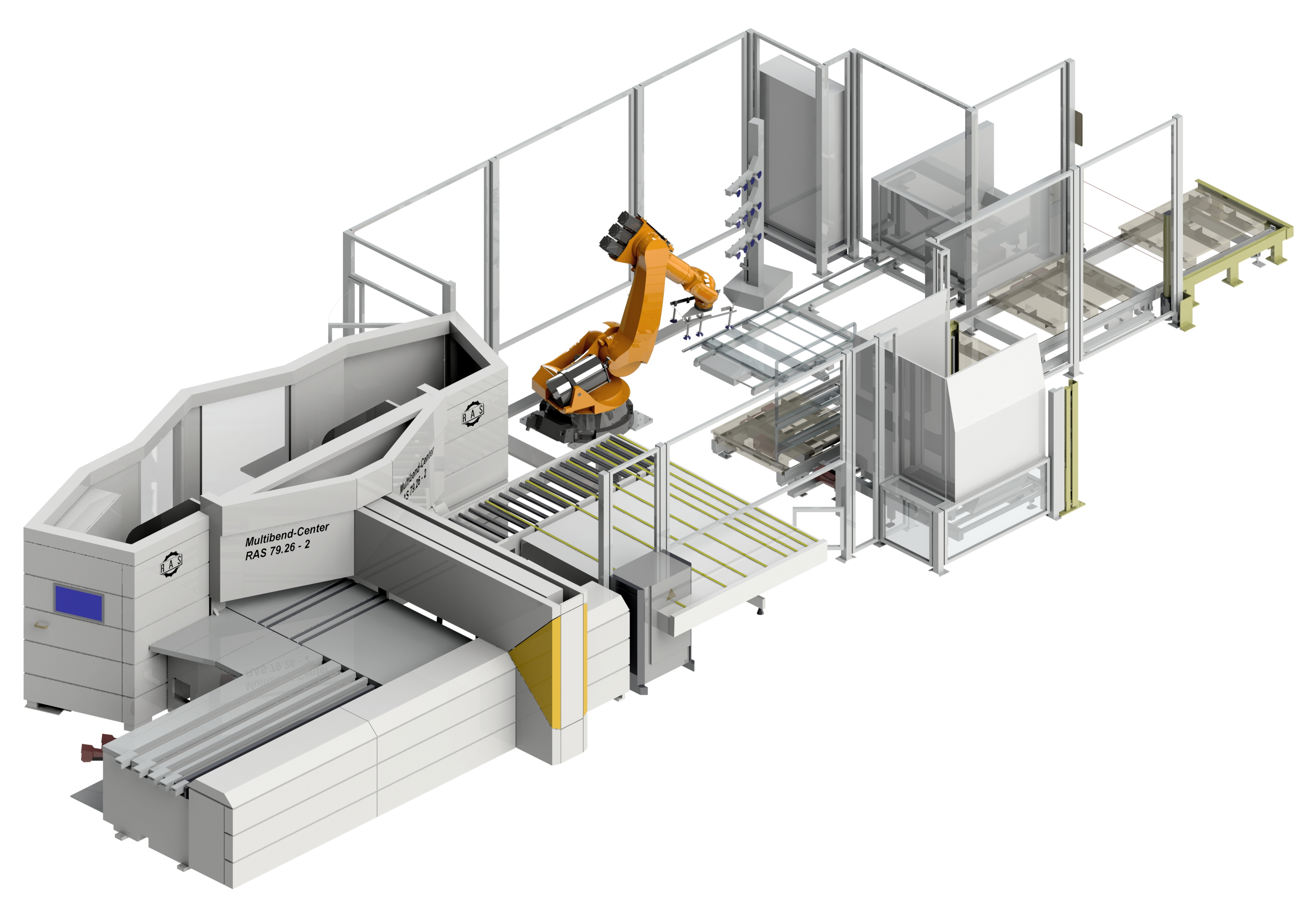 Automatic unloading and stacking of bent parts with an unloading robot. Pallet magazine and back panel magazine.