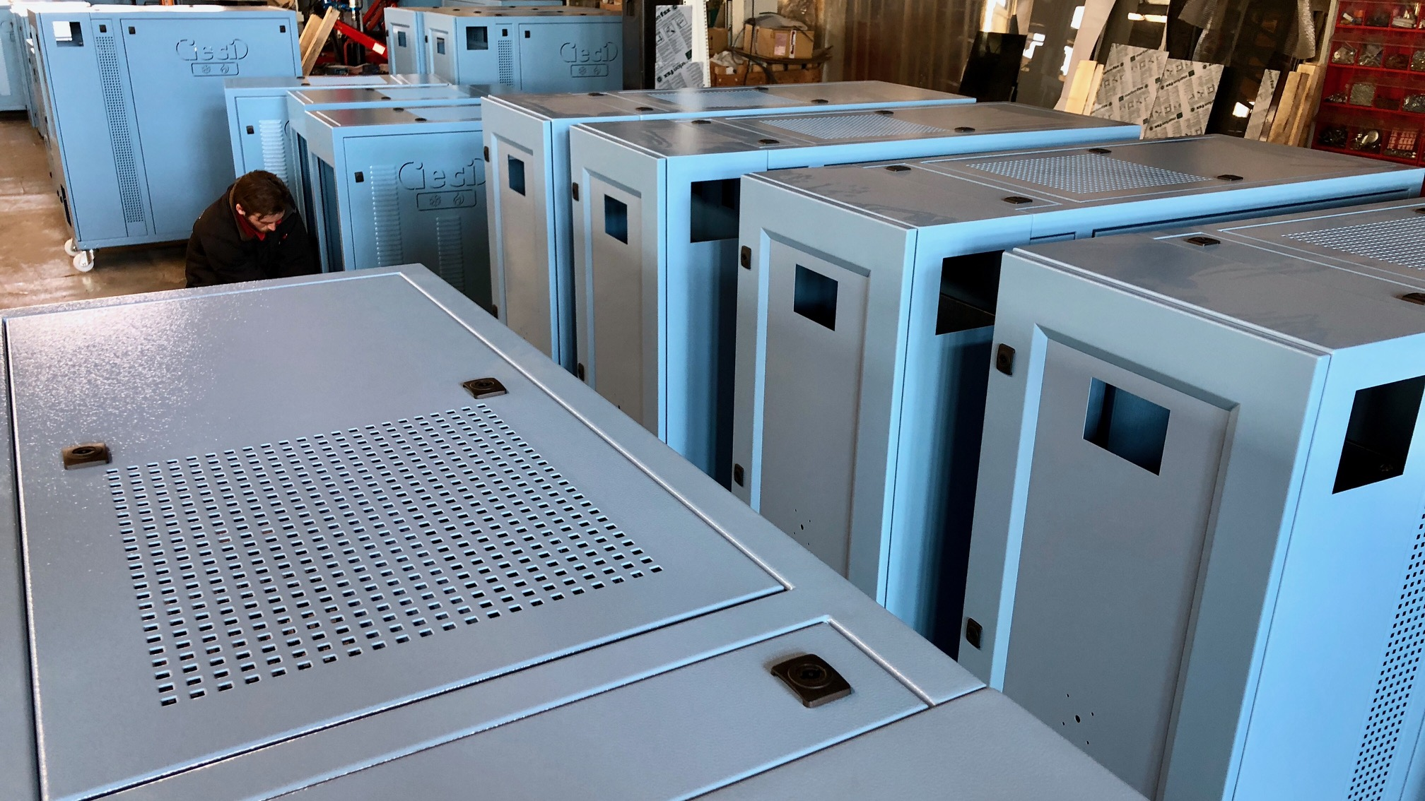 Electrical cabinets ready for shipment