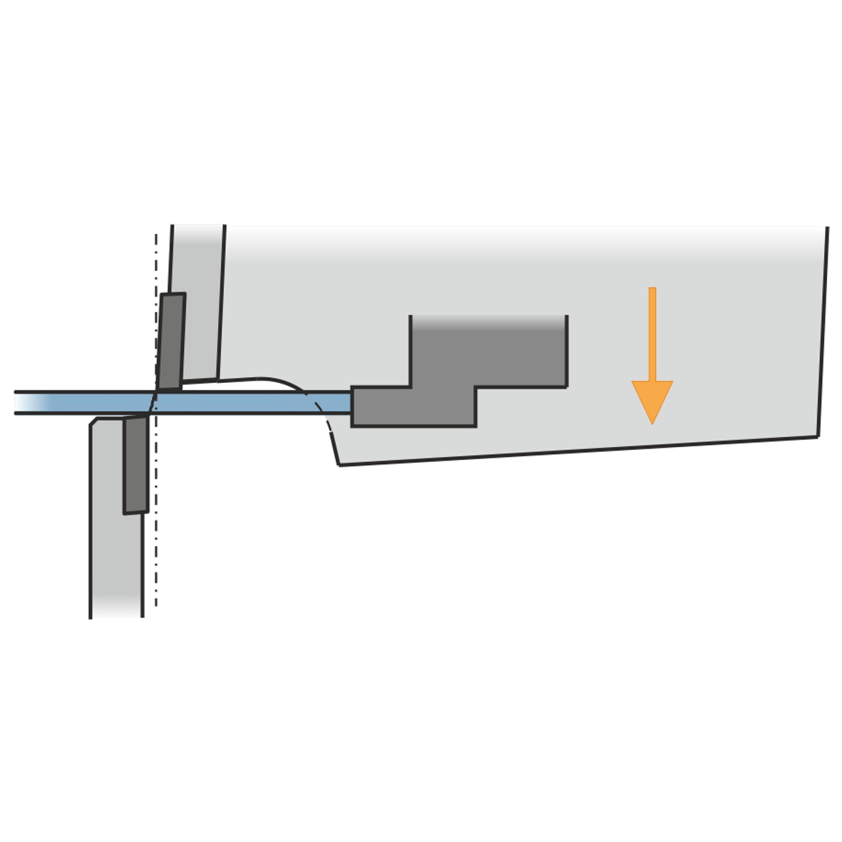 Oblique fractured cutting line