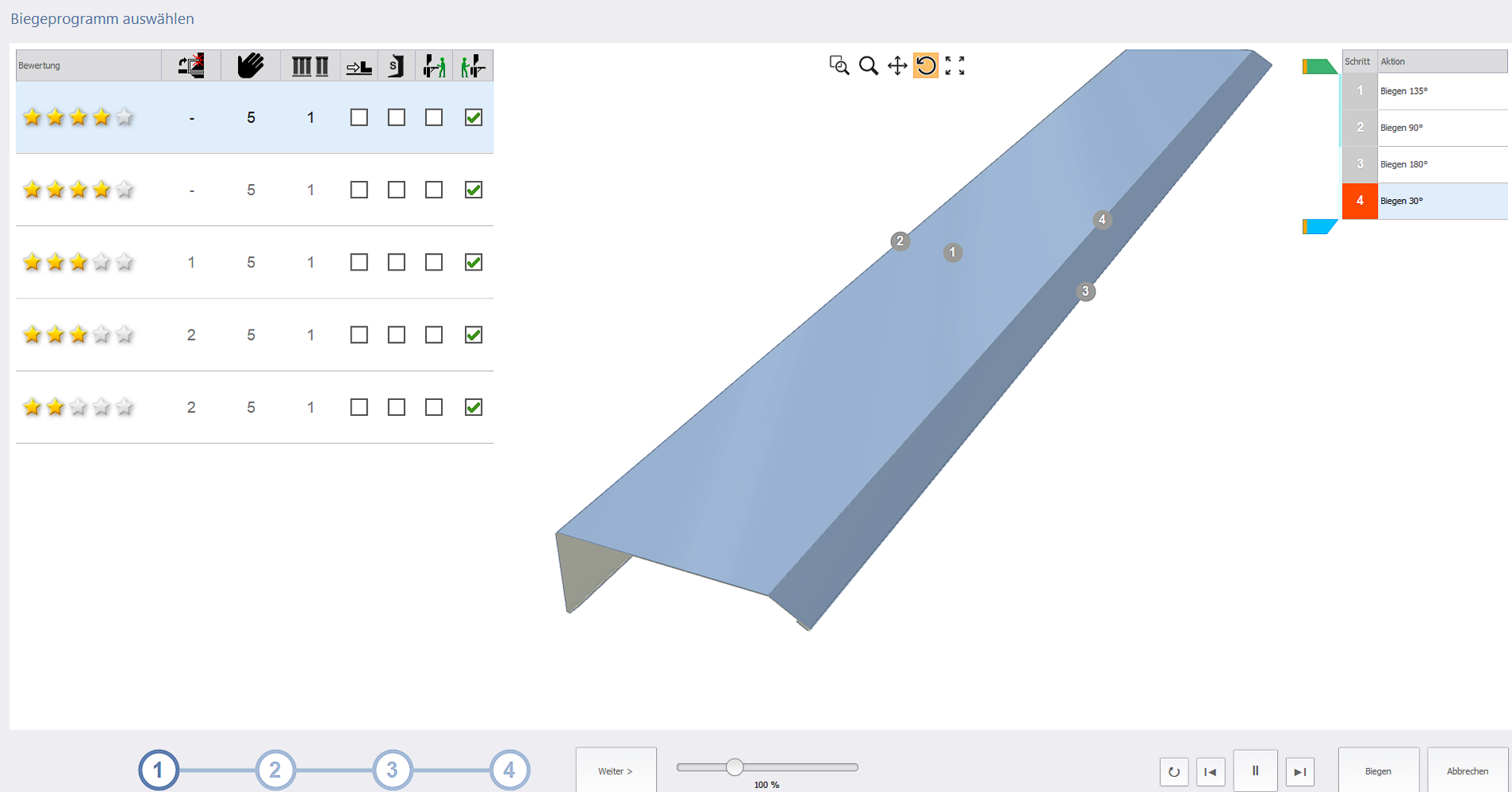Automatically created part program. The software evaluates alternative bending stratgies with a 5 star ranking