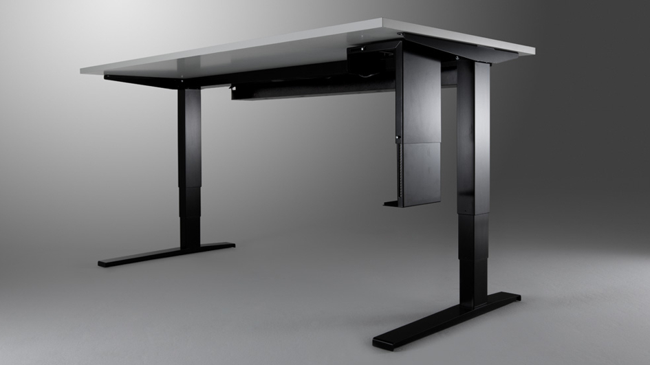 The UpDown folding machine XLTbend bends office tables components such as cable trays and monitor back panels.
